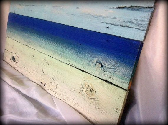 Beach Inspired Painting on Reclaimed Wood Wall Hanging Art - Beach Inspired Painting On Reclaimed Wood Wall Hanging Art