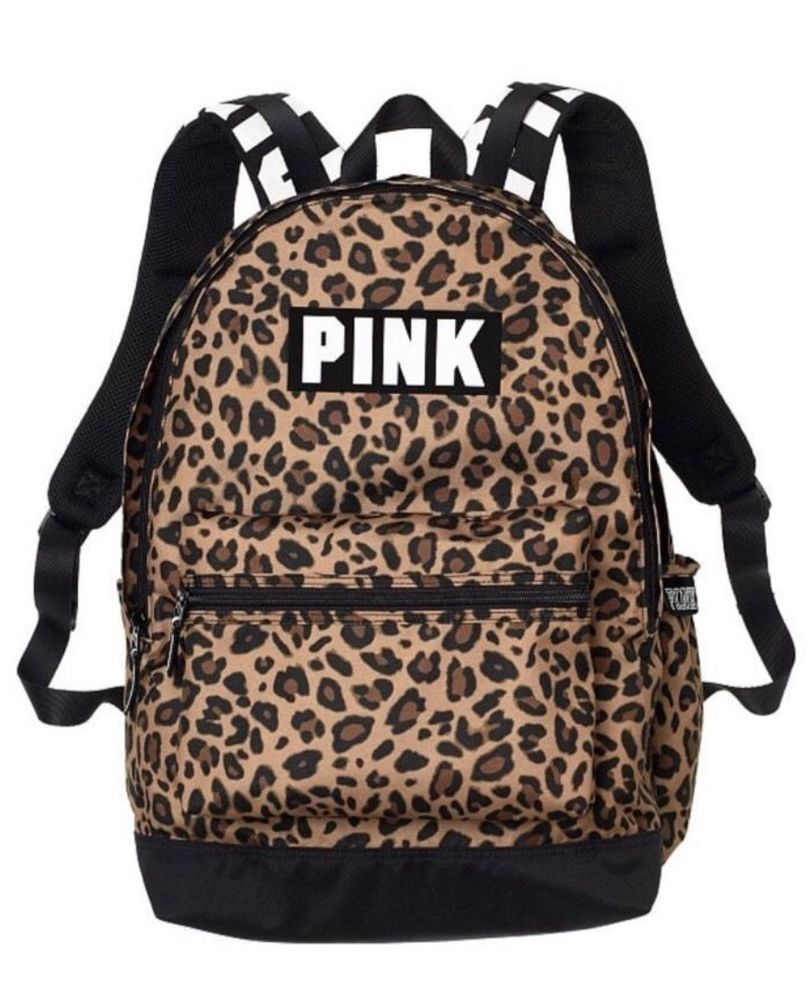 d89897b69643 New Victoria's Secret PINK Campus Backpack Leopard Cheetah Animal Print NWT