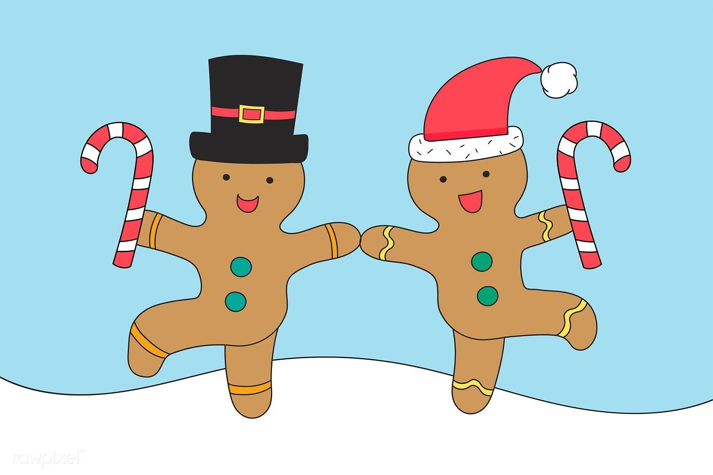 Dancing Gingerbread Men Vector