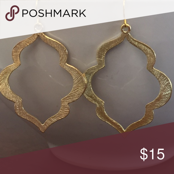 Long Gold Geometric Dangle Earrings Gold Geometric Gold Earrings Dangle Dangle Earrings
