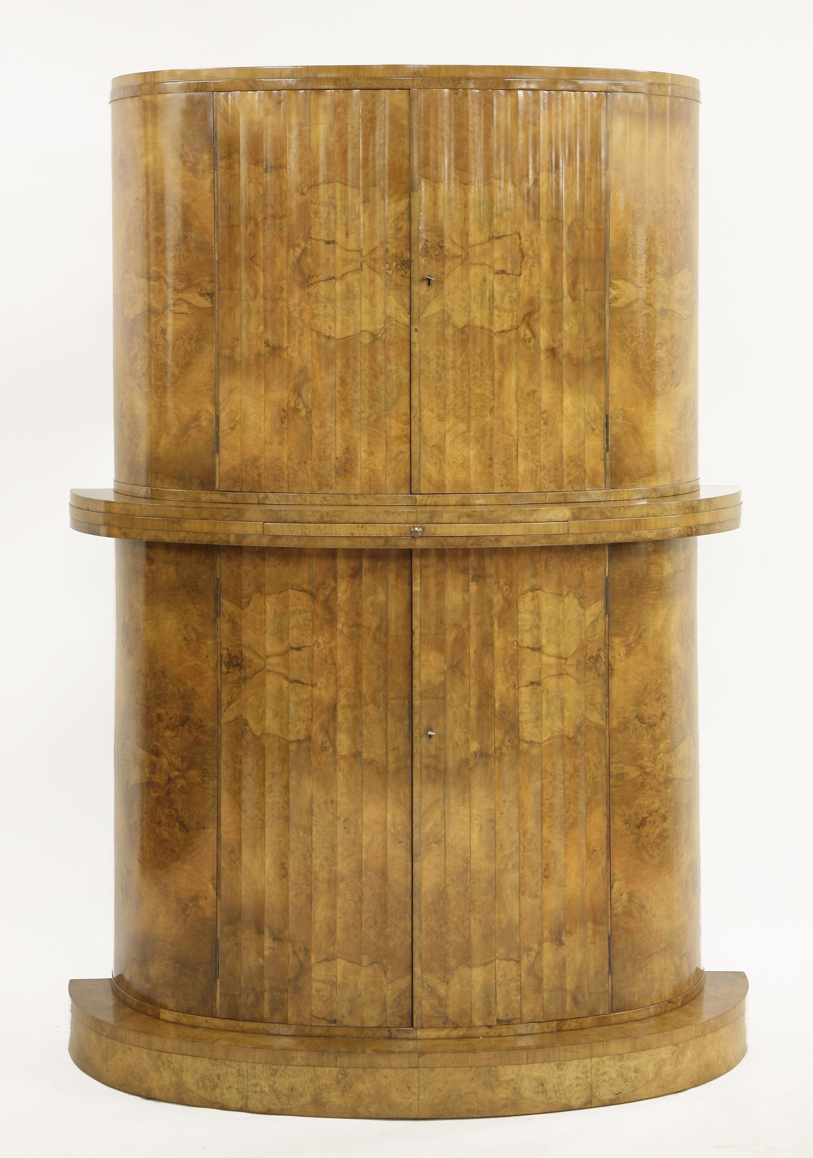 An Art Deco Burr Walnut Cocktail Cabinet, Attributed To Epstein,