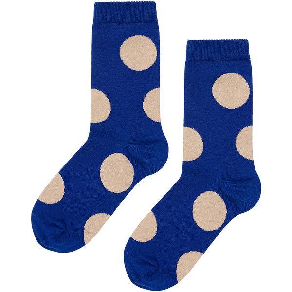 Hansel from Basel Rie Crew Polka-Dot Cotton-Blend Socks (€13) ❤ liked on Polyvore featuring intimates, hosiery, socks, accessories, blue, polka dot, hansel from basel, blue crew socks, polka dot socks and crew socks