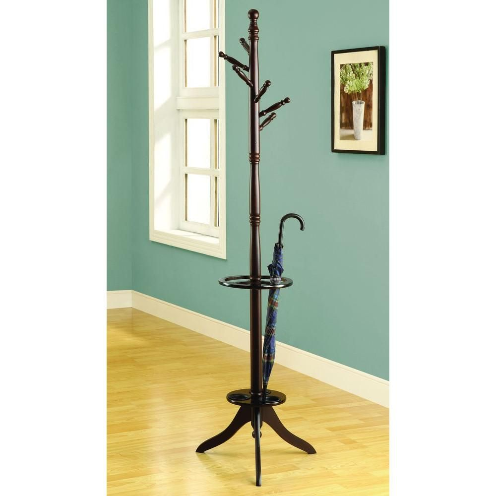 6-Hook Solid Wood Coat Rack in Cappuccino with an Umbrella Holder, Brown