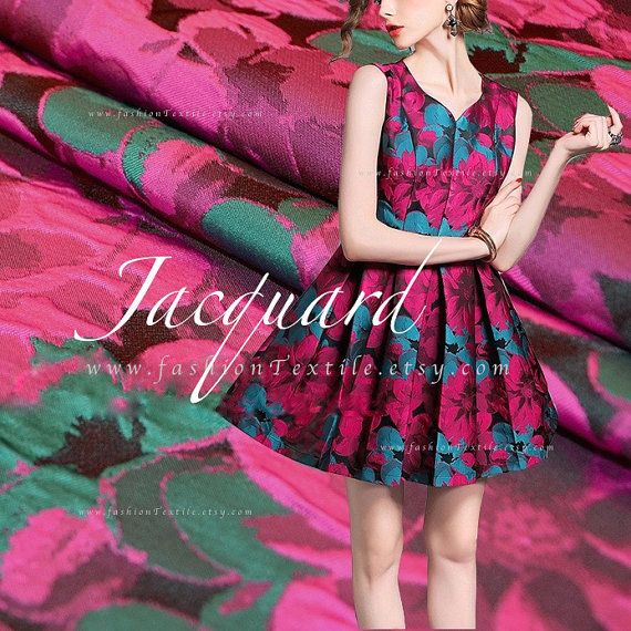 Sew party dress. Fuchsia Jacquard Hot Pink Big Flower fabric by meter. FashionTextile