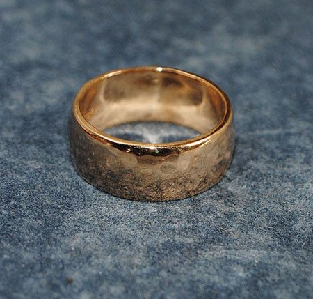 14K Yellow Gold Hammered Lo Dome Band - riccoartjewelry.com  - 1