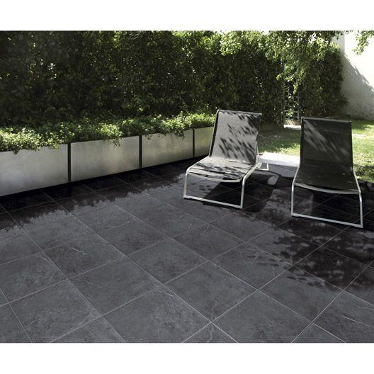 Carrelage extérieur Ardenia en grès cérame émaillé, noir, 34x34cm