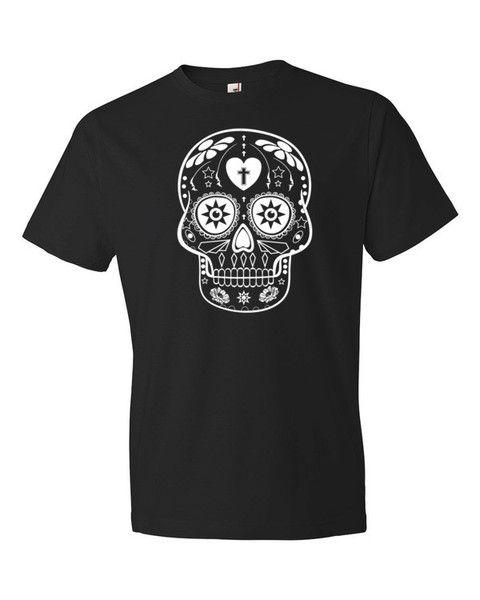 Mens Black//White Sugar Skull Short-Sleeve T-Shirt