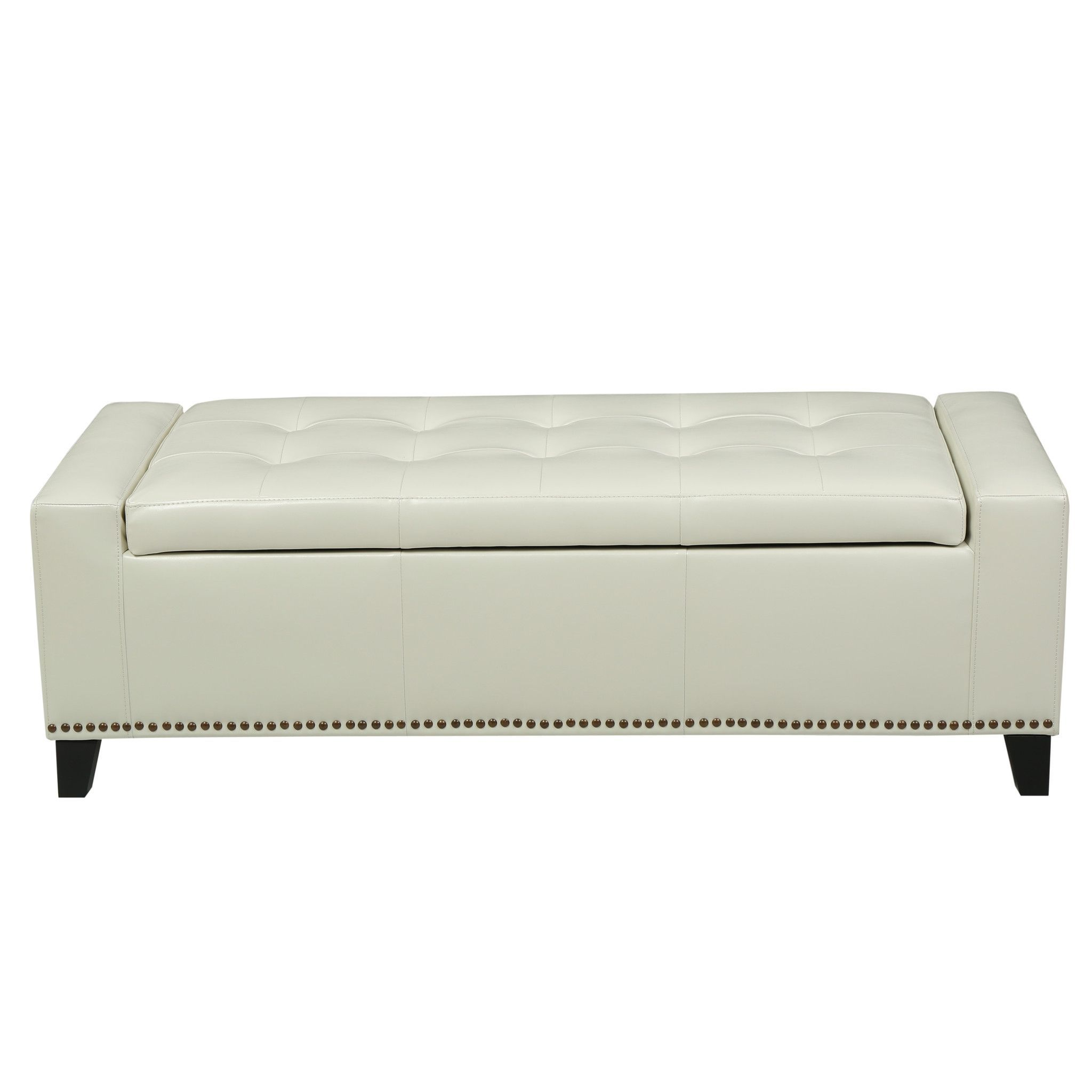 Robin Studded Off-White Leather Storage Ottoman Bench