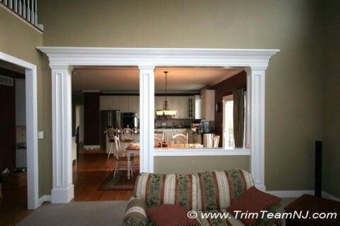 Half Wall With Pillars Open Kitchen And Living Room Home