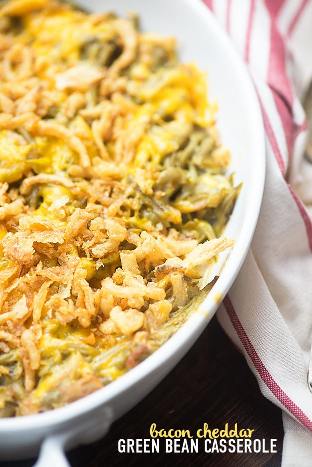 Green bean casserole with bacon! This green bean casserole recipe is so easy and there are NO cans of soup! #greenbean Green bean casserole with bacon! This green bean casserole recipe is so easy and there are NO cans of soup! #greenbeancasserole