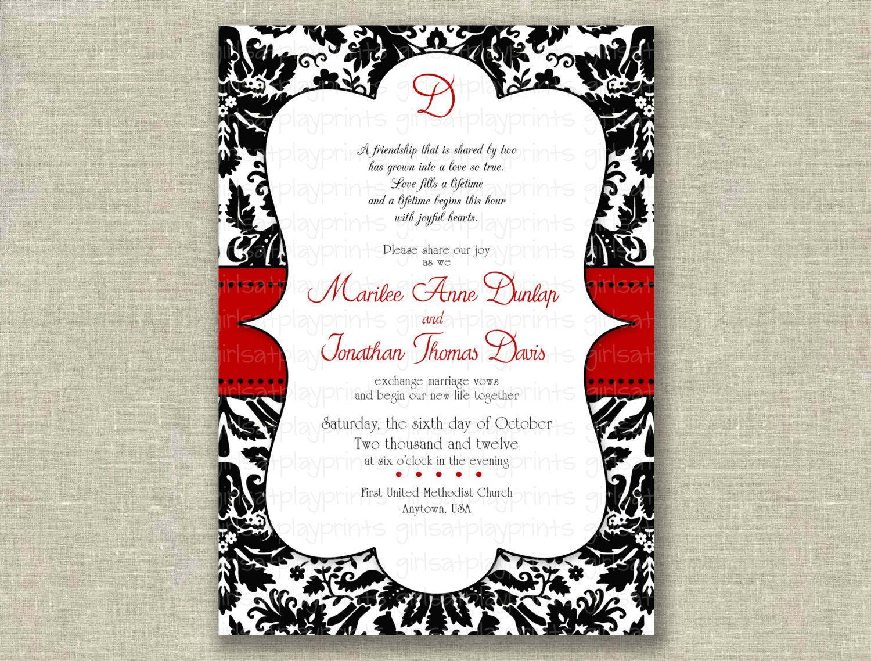 modern wedding invitation invite black damask red elegant printable