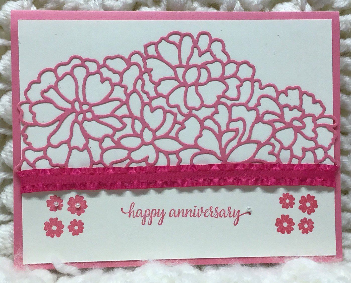 Anniversary Card with a Pink Ribbon Wedding anniversary