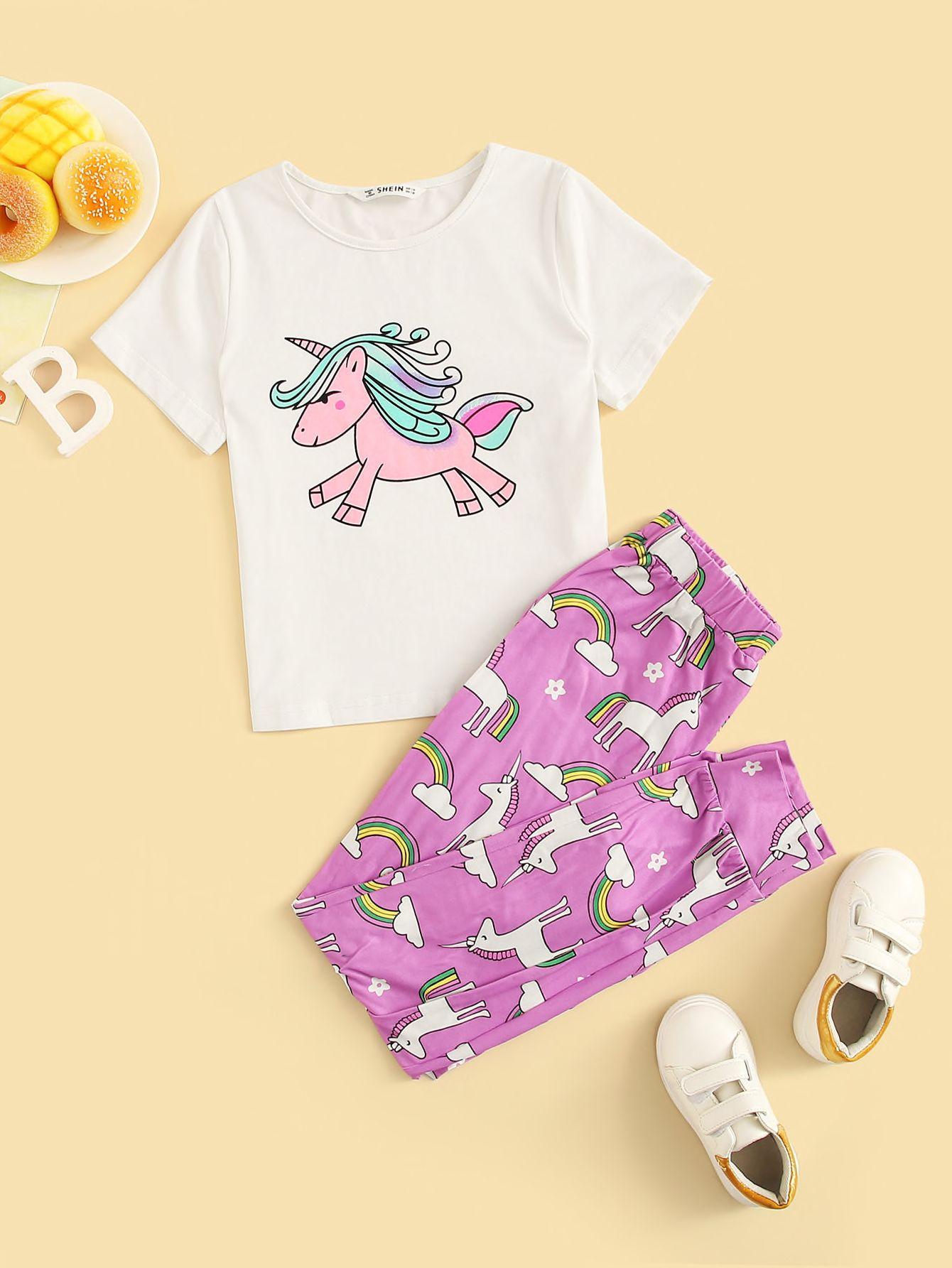 طقم تي شيرت بطباعة وحيد القرن مع سروال بناتي قد اشتريت منتج رائع من موقع شي إن أرغب في أن أوصيكم بشرائه حلوه وع Girls Clothing Sets Printed Tees Outfit Sets