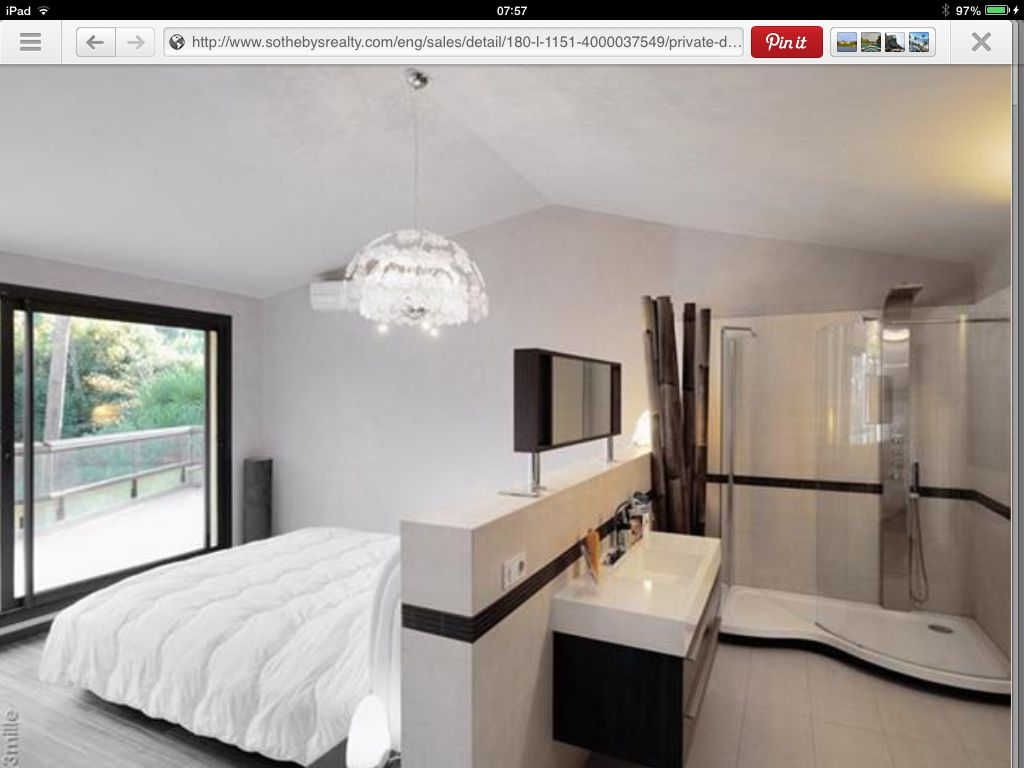 Like the open plan ensuite idea for a couple of bedrooms for Small bedroom with bathroom design