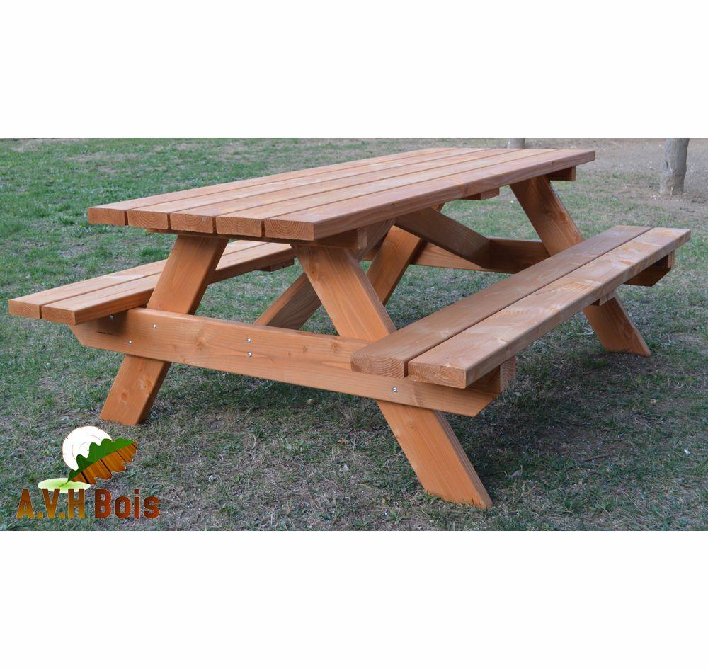 Table forestière en bois douglas | Mobilier de Jardin | Picnic table ...