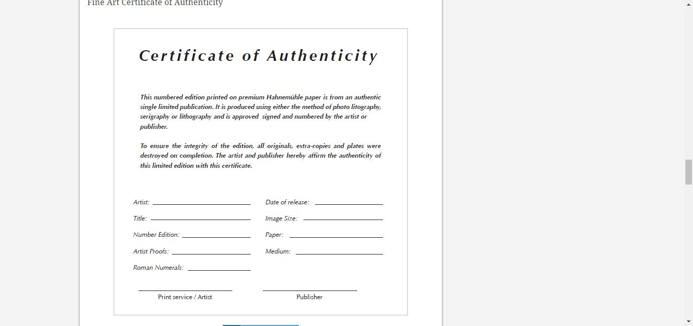 8 Certificate Of Authenticity Templates Free Samples With Regard
