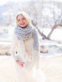 Arm Knit Color Block Scarf