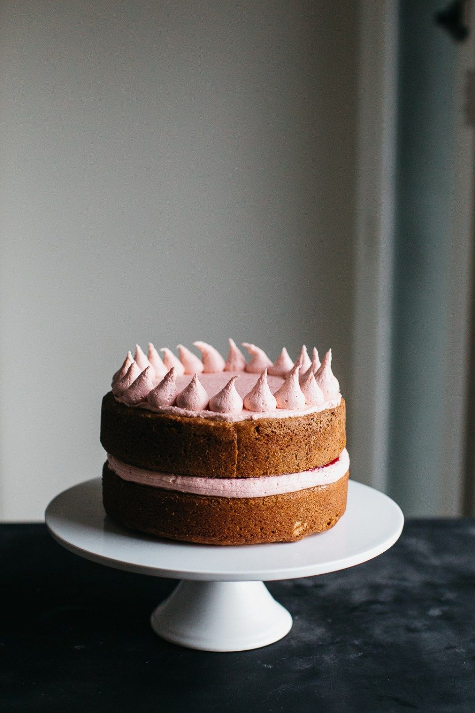 Hazelnut Layer Cake with Plum Frosting