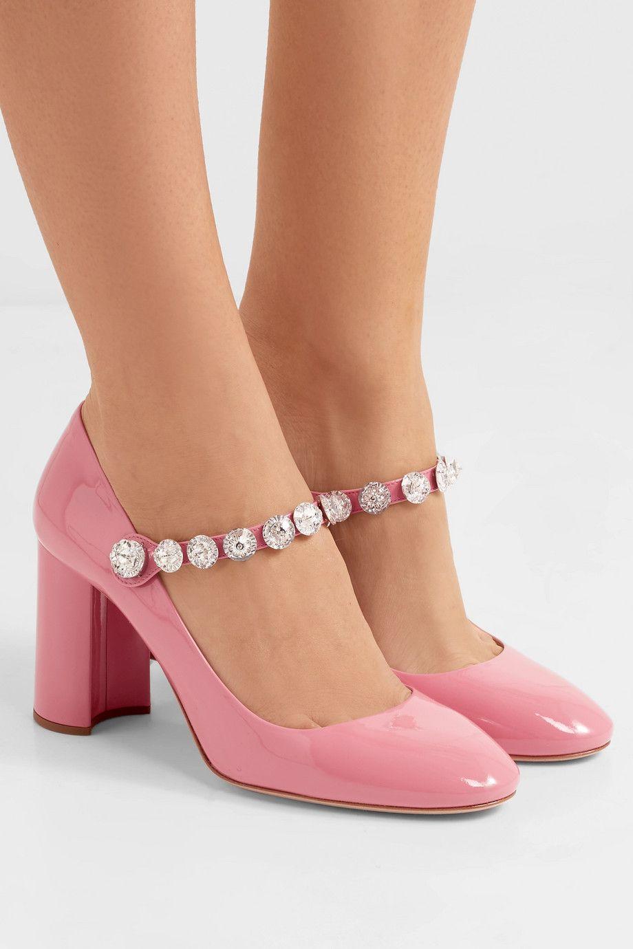 1f065a31cb Miu Miu   Crystal-embellished patent-leather Mary Jane pumps    NET-A-PORTER.COM