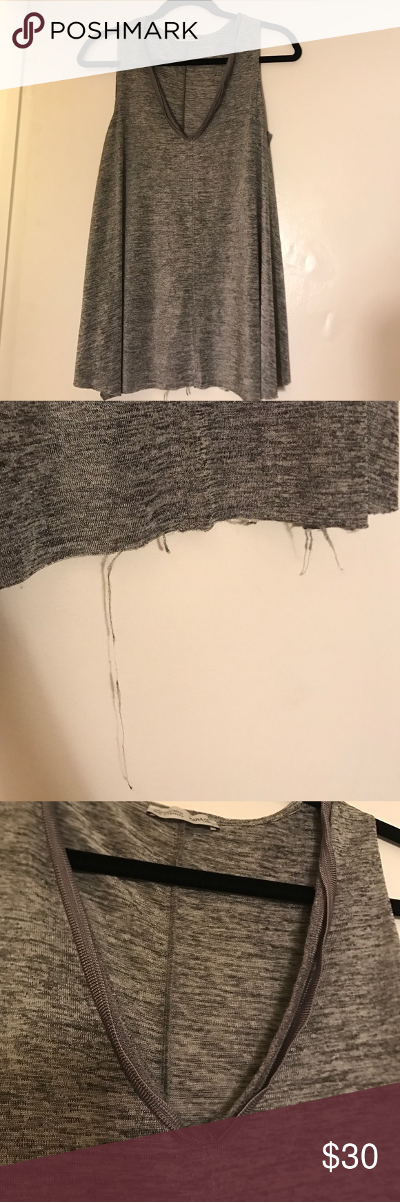 Zara long knit shiny tank Never worn, fraying is part of style Zara Tops Tank Tops