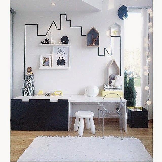 kids room with washi tape home improvements pinterest room kids room and kids bedroom. Black Bedroom Furniture Sets. Home Design Ideas