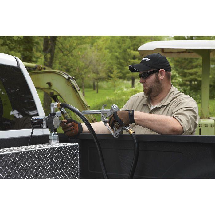 Roughneck 12V Fuel Transfer Pump — 8 GPM, Manual Nozzle, Hose | Fuel