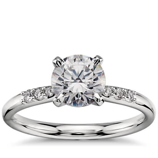 1 Carat Preset Petite Diamond Engagement Ring in Platinum