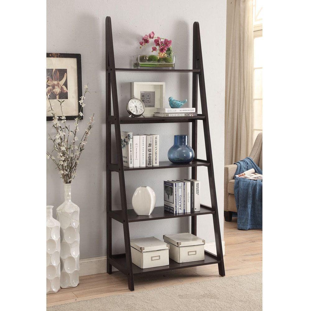 Espresso Colored Wood 28x72 Ladder Style Bookcase