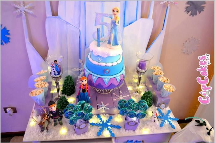 Fab cake at a Frozen Themed Birthday Party with Lots of Really Cute