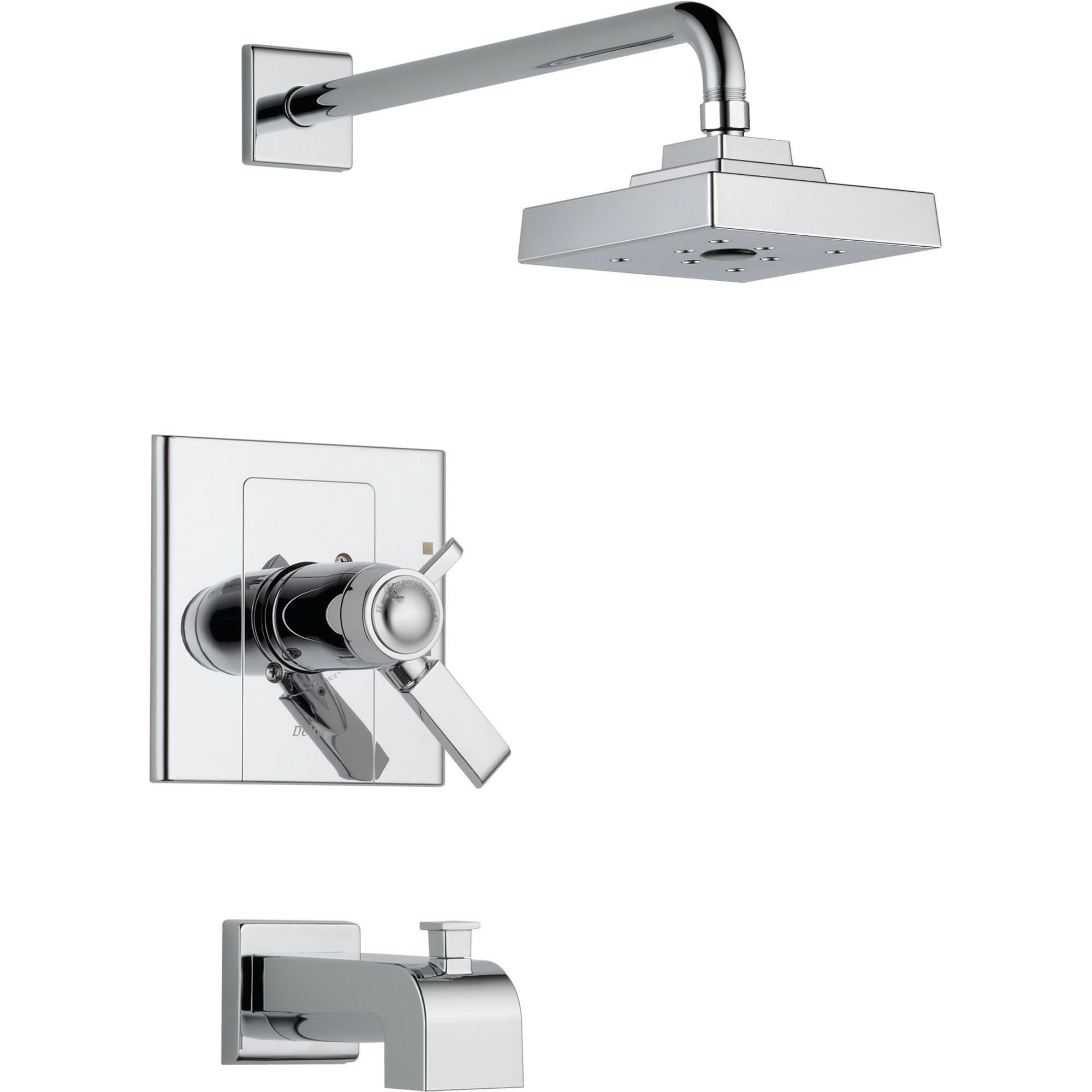 Delta Arzo Thermostatic Dual Control Chrome Tub Shower Faucet