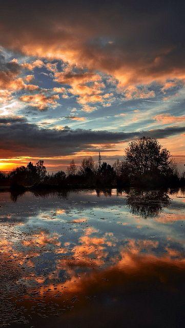 Amazing Sunset Reflection Clouds Red Tree Lake Sea Landscape Nature Beautiful Nature Photography Beautiful Nature Landscape Photography