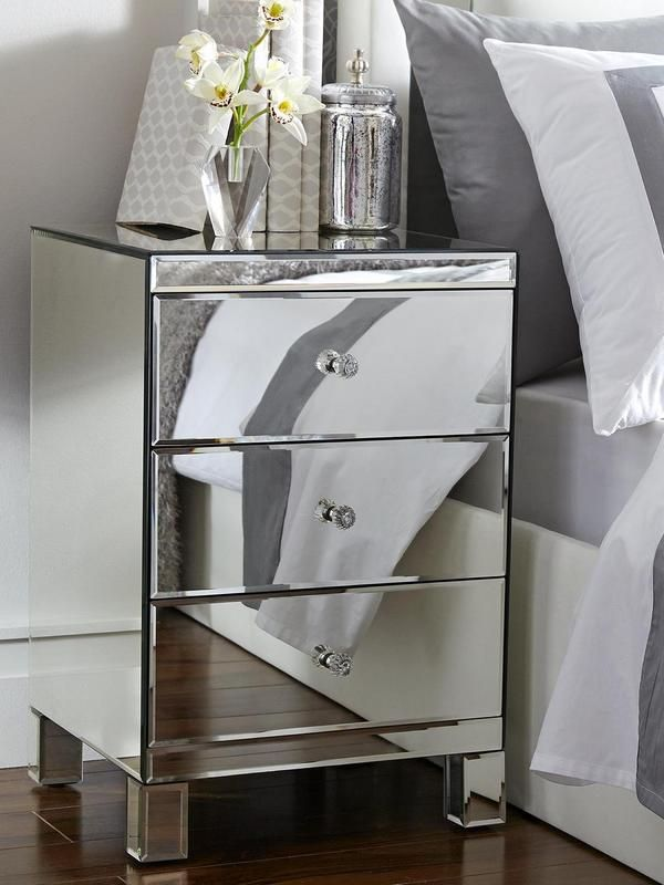Bedside Chest Mirrored Furniture, 3 Drawer Mirrored Bedside Table Very