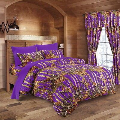17 Pc Set Purple Camo Bedding Queen Size Set Comforter Sheet Curtain Camouflage