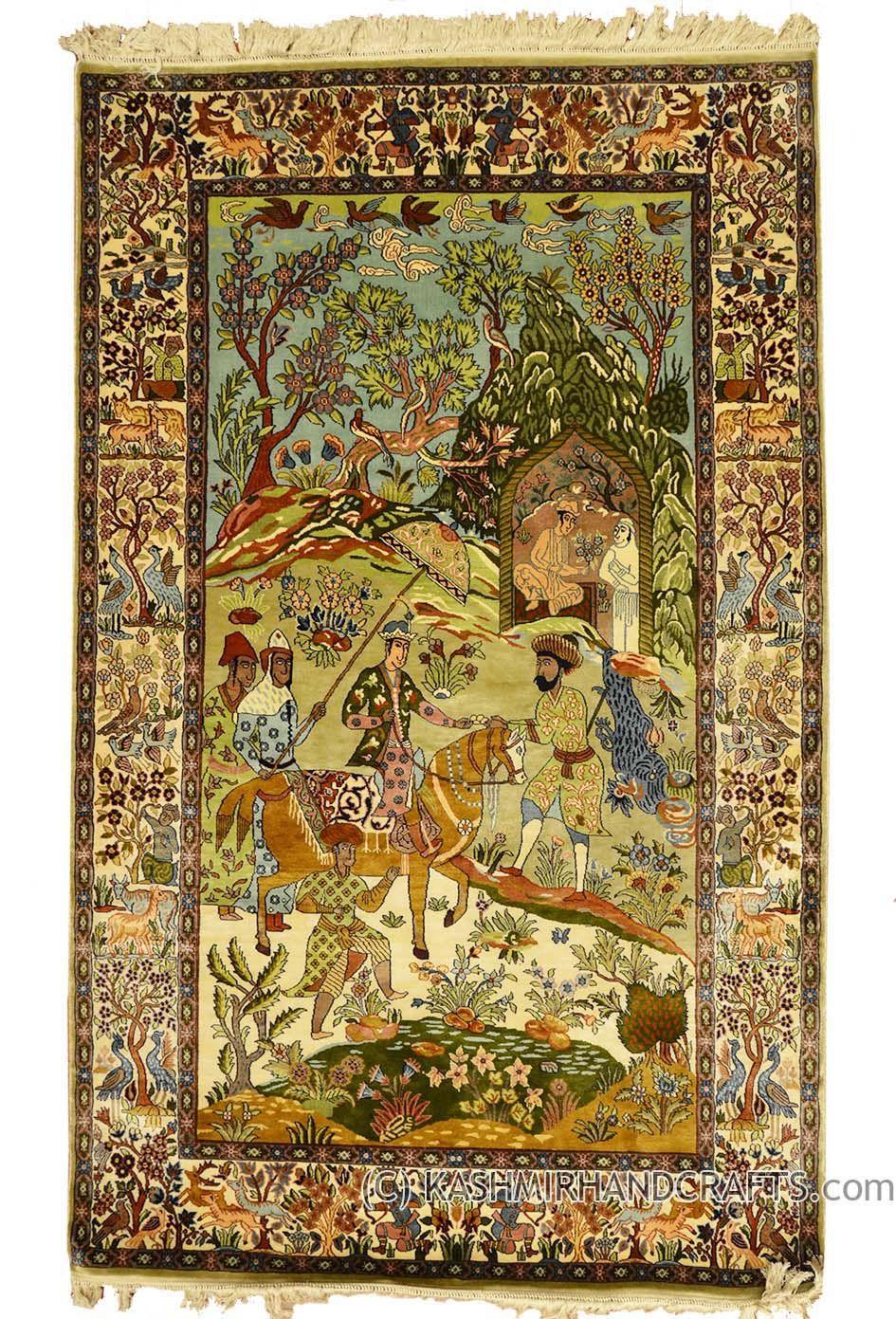 Traditional Wall Art silk-on-silk-pictorial-rug-village-scene-wall-art-islamic-art