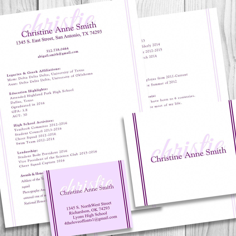 digital printable sorority recruitment packet with resume