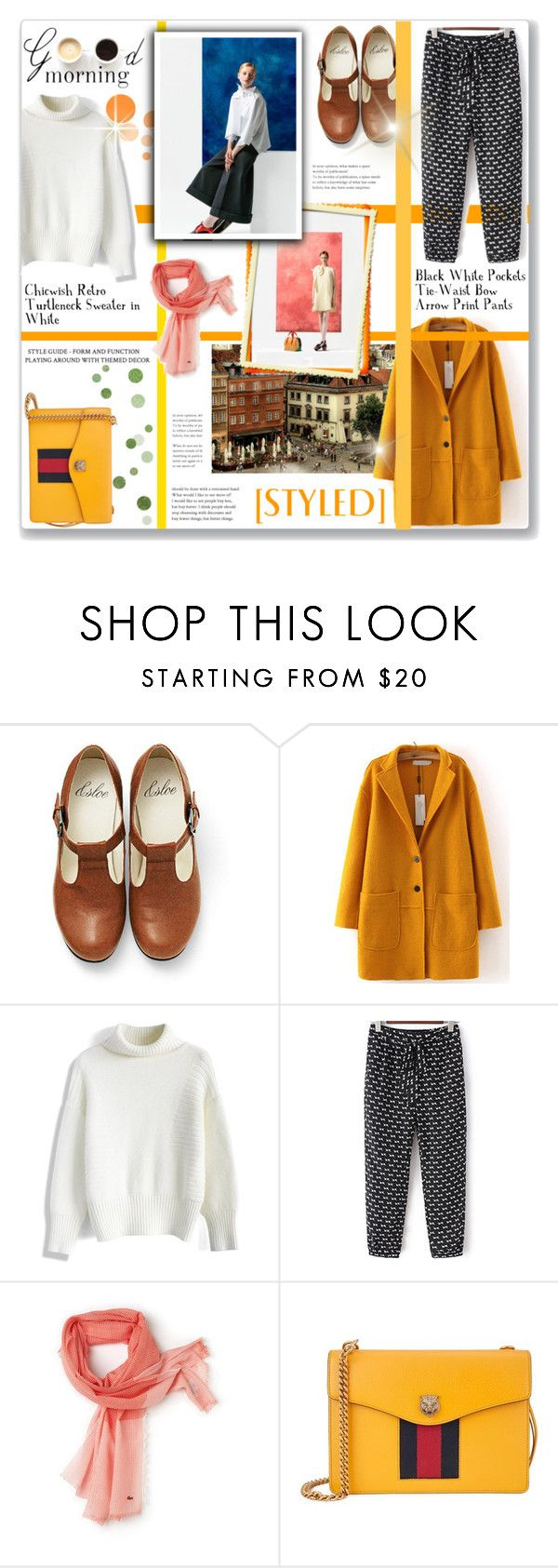 """""""#183) YELLOW in STYLE"""" by fashion-unit ❤ liked on Polyvore featuring WithChic, Delpozo, Chicwish, Lacoste, Gucci and LULUS"""