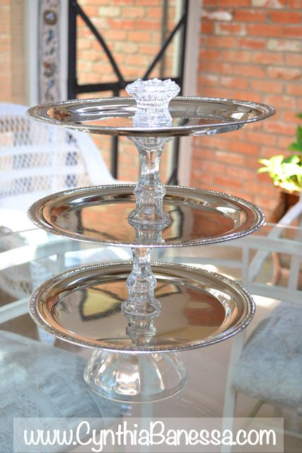 Beautiful Diy Silver And Glass 3 Tier Serving Tray Tiered Tray Diy Diy Tray Dollar Tree Diy Crafts