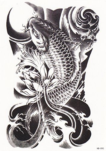 0524ba47e23ff Japanese Dragon Koi Fish Tattoo Designs, Drawings and Outlines. The  inspirational best red and blue koi tattoos for on your sleeve, arm or  thigh.