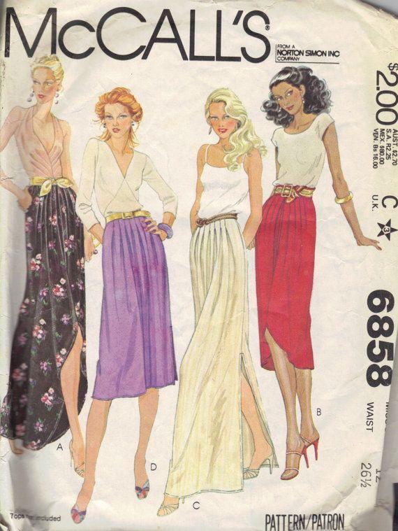 18cef654f6 Disco Fashion 70s 80s Maxi Midi Skirt Pleated Waist Side Slit McCall's  Sewing Pattern Waist 26