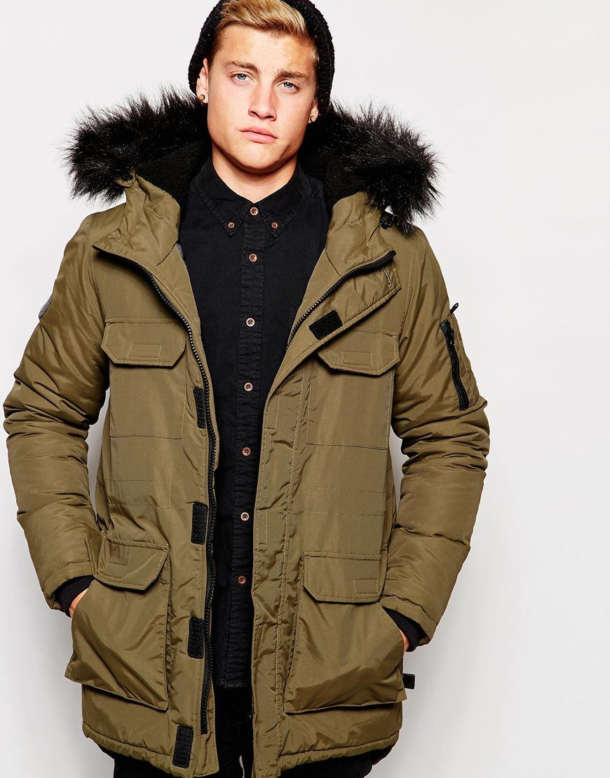 62f0a89b49 Image 1 of Bellfield Parka with Faux Fur Hood