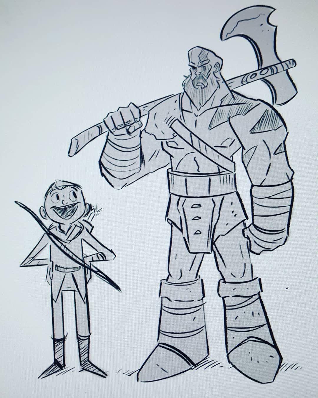 Dad Of War Fanart Kratos Axe Drawing Sketch Doodle