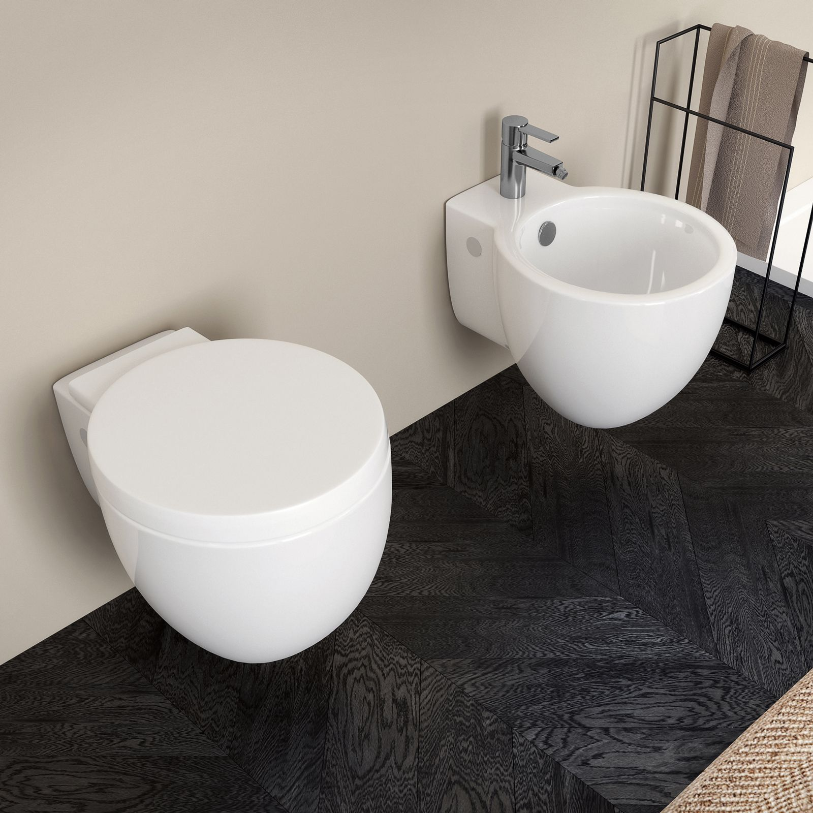 Sanitari Sospesi Bloom In Ceramica Con Sedile Copri Wc Softclose