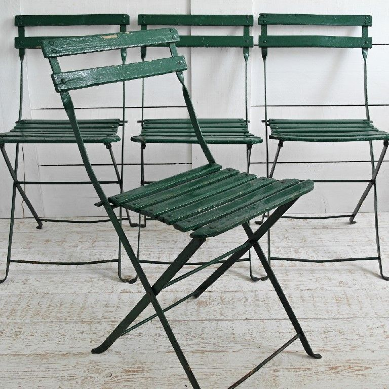Astounding Set Of 4 Vintage French Folding Cafe Chairs In The Original Caraccident5 Cool Chair Designs And Ideas Caraccident5Info