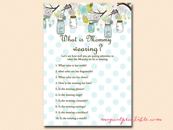 What Is Mommy Wearing Memory Game Rustic Mason Jars Baby Shower