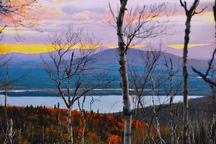 Beautiful sunset over Moosehead Lake ~ view of Moose Mountain.