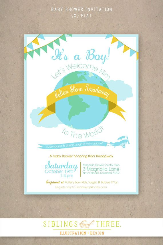 Printable Baby Shower Invitation - Welcome to the world baby boy ...
