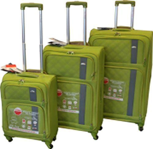 Ez Luggage Travel Gear 3 Piece Super Light Suitcase Set Green ...