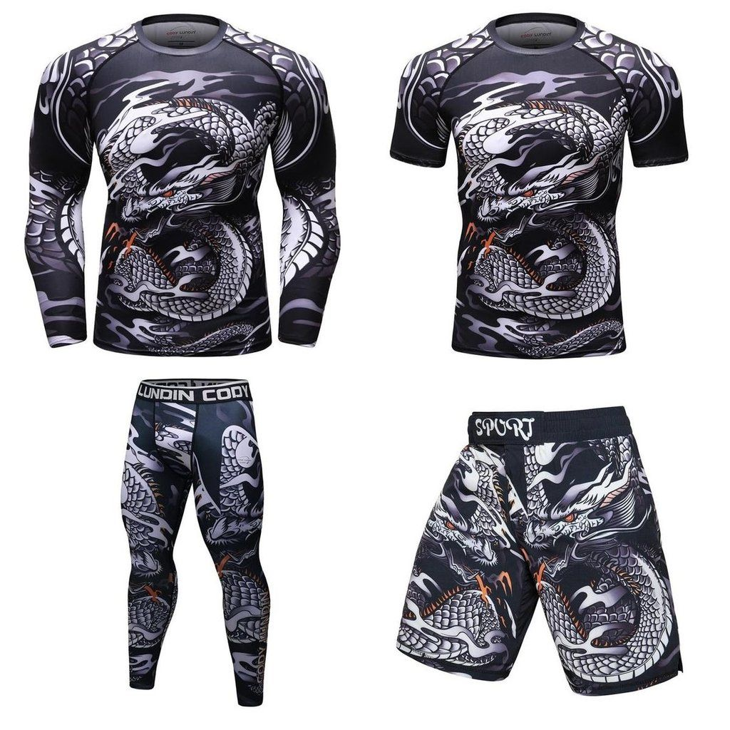 DRAGON MMA Grappling Rash Guard T Shirt /& short set BJJ Boxing Fight Gym Fitness