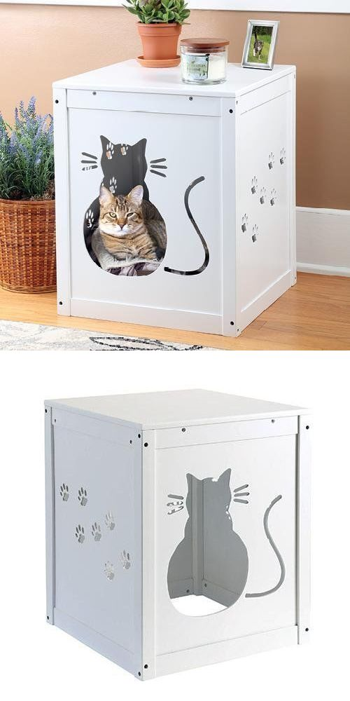 Animals Cats: Cat Kitty Litter Hide Away End Table Cabinet Litter Box  Furniture Bed Pet