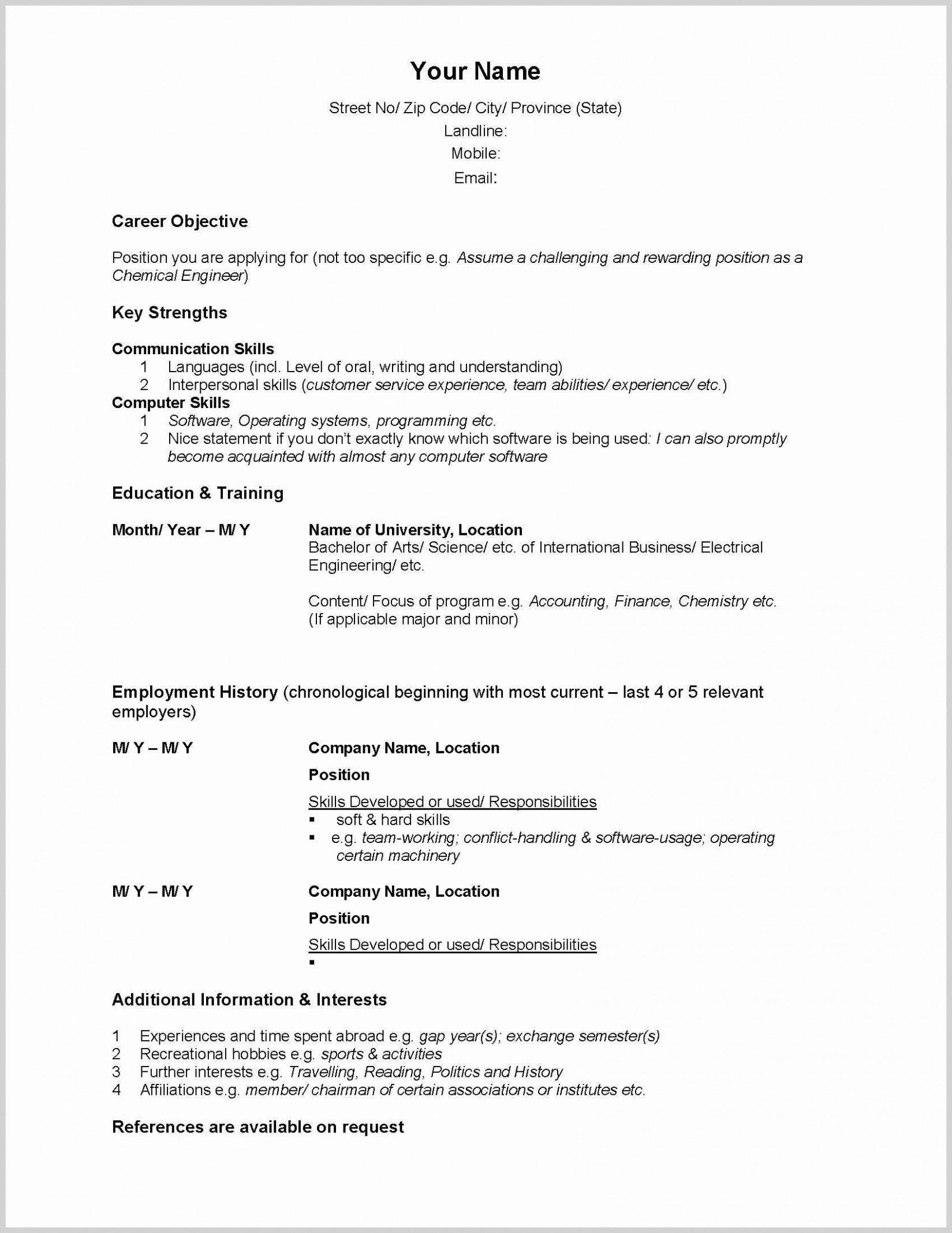2020 Resume Templates Canada